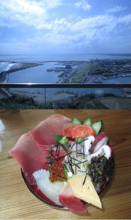 刑部岬からの景観と「浜茶屋 海鮮」の大漁丼