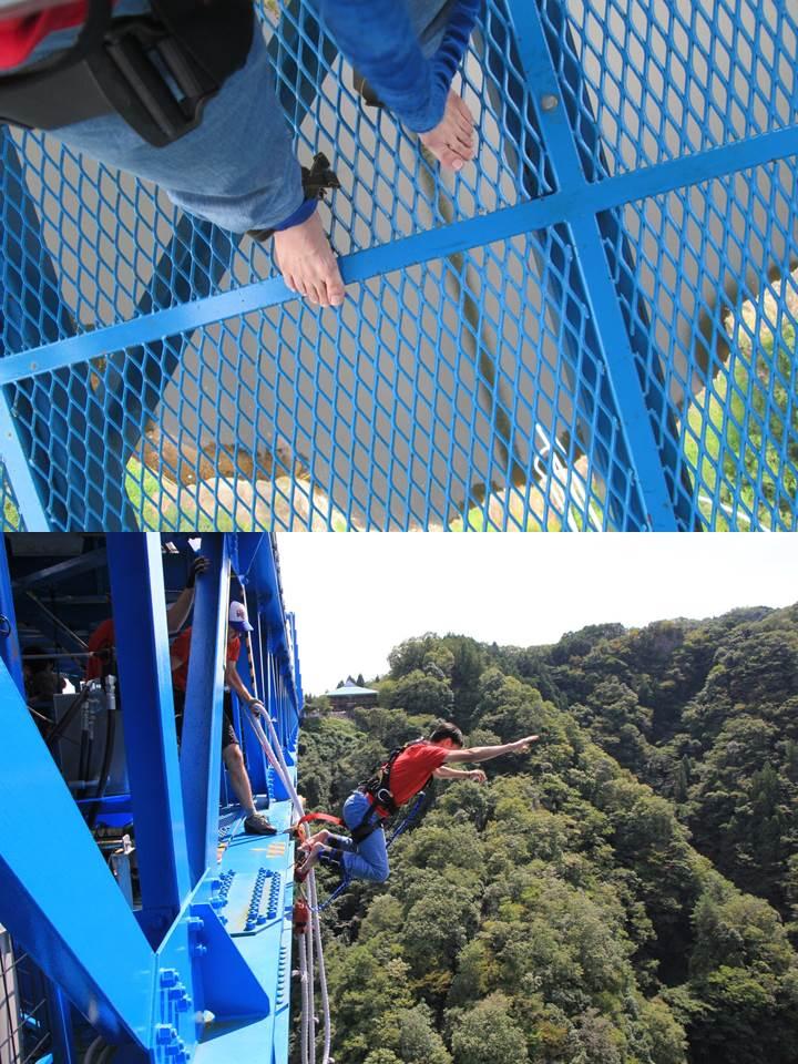 ジャンプ台は網目で下が丸見えでスリル満点。100mからのダイブ。気持ちいい〜!