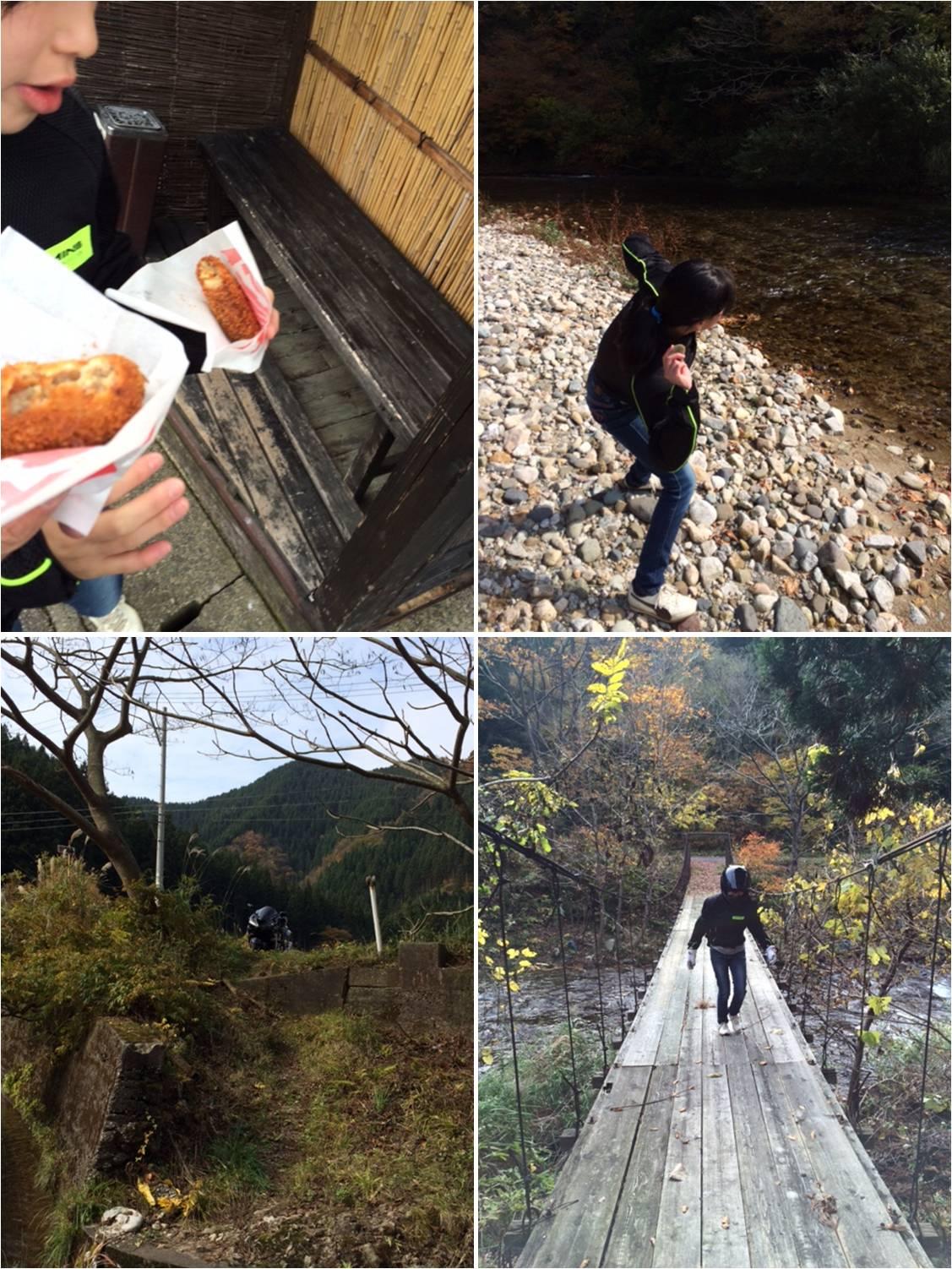 やま信の『コロッケとメンチカツ』、旧朝日村奥地の河原、ギシギシと軋む吊り橋