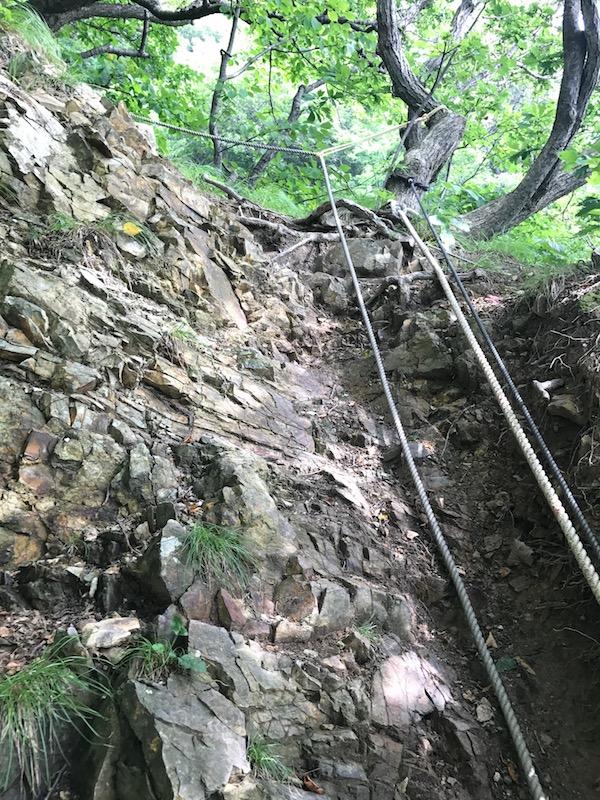 大田神社の険しい登山道