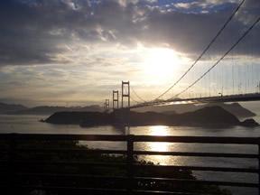 今治から来島海峡大橋をみたところ